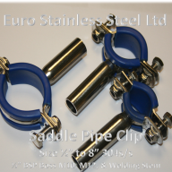 "Saddle Pipe Supports 1/2"" to 6"". With 1/2"" BSP Boss M10, M12 Boss and welding Stem"