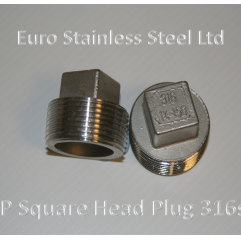 "BSP Square Head Plug 1/4"" to 4"" 316s/s"