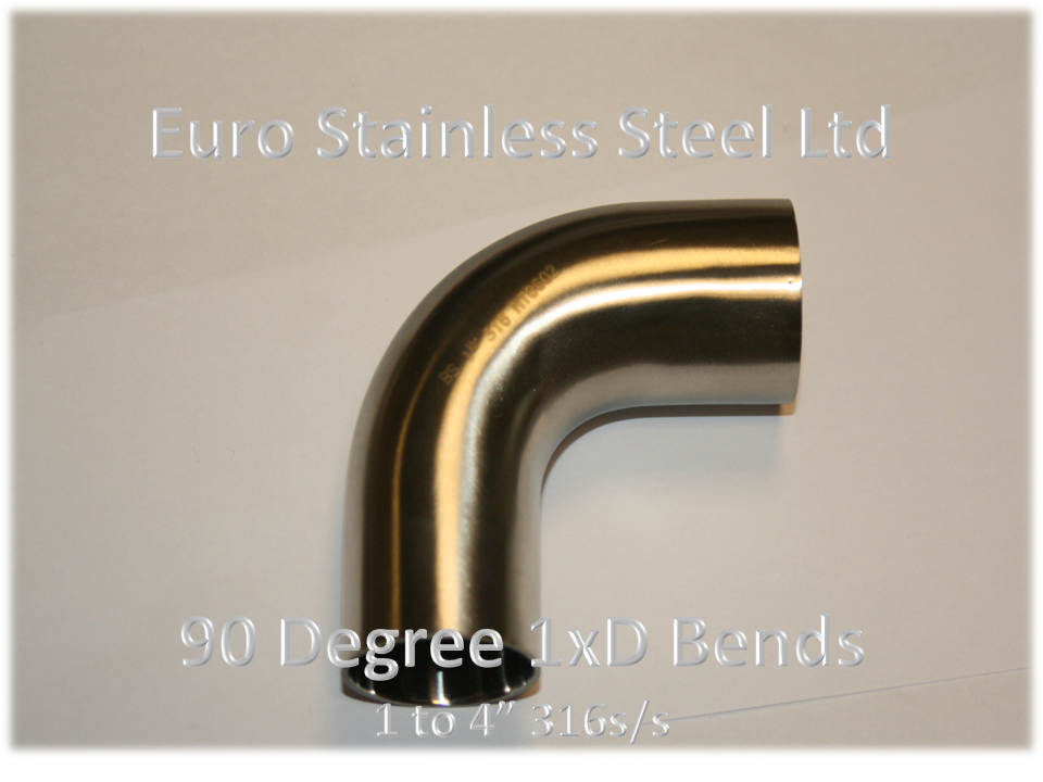 90 Degree Bend 1.5xD Sizes 1/2  to 6  & Hygienic Pipe Fittings u2013 UK Stainless Steel