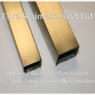 Box and Rectangular Section Tubes. Wall thickness 1.5mm, 2mm, 3mm, 5mm Polished or Descaled 304s/s