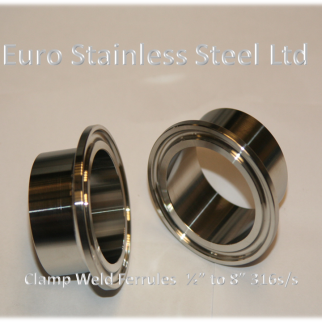 "Clamp Weld Ferrule 1/2""to 8"" 316Ls/s"